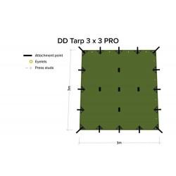 Płachta biwakowa DD Hammocks Tarp 3x3 PRO - Olive Green