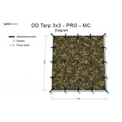 Płachta biwakowa DD Hammocks Tarp 3x3 PRO - Multicam