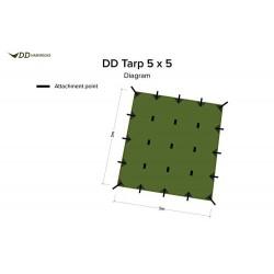 Płachta biwakowa DD Hammocks Tarp 5x5 - Olive Green